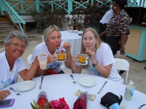 Pusser's Painkillers on Marina Cay - Holly Scott, Kathy and I