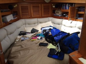Packing in small spaces and trying to find snorkel gear, shoes, tank tops - all of which are not needed on Lake Superior and were buried in storage boxes.