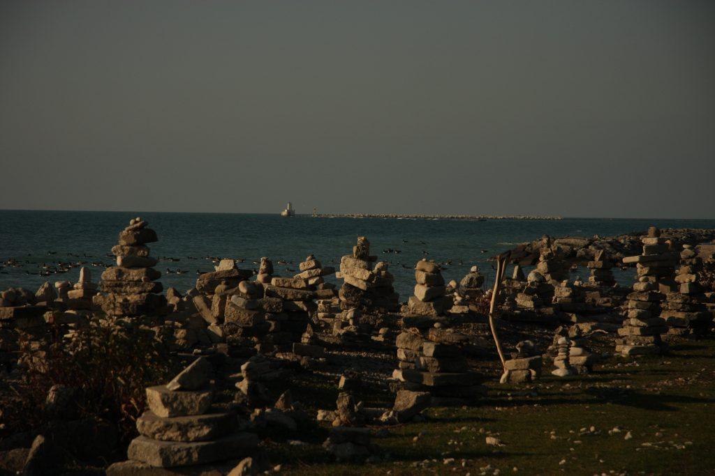 Village of Inuksuks along the beach in Goderich