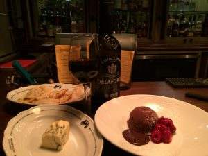 Vintage port with blue cheese and a chocolate caramel bomb