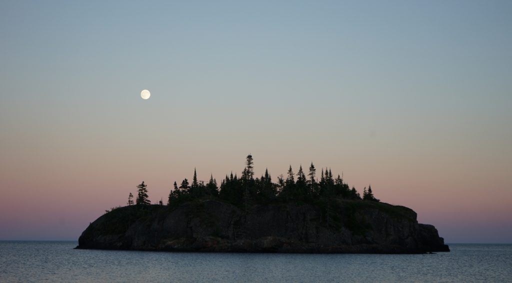 July 18 Moonrise in Cozens Cove