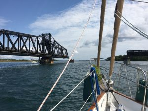 August 25 The swing bridge in Little Current opening for us